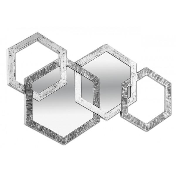 APOTEMA - Стенно огледало, релефно покритие в сребристо