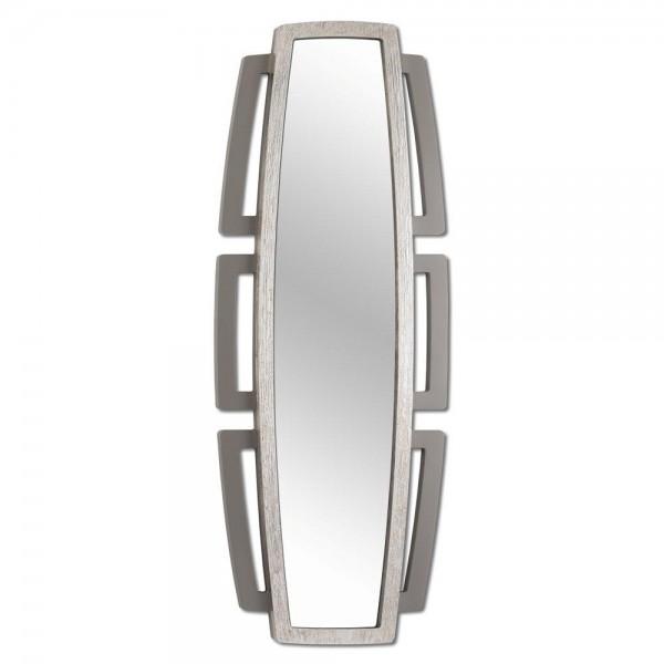 SIBILLA - Огледало за стена, сив гланц и релефна сребриста повърхност