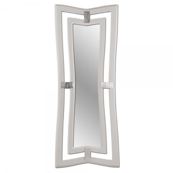 ARGO - Модерно стенно огледало, слонова кост гланц и сребристи акценти