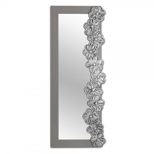EDEN SILVER - Релефно стенно огледало, декорирано в сребристо и сив гланц