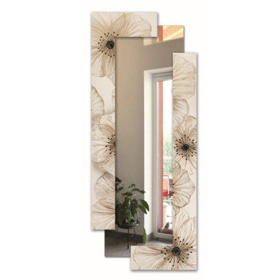 PETUNIA SCOMPOSTA - Стенно огледало, релефни акценти от смола, гланцово покритие