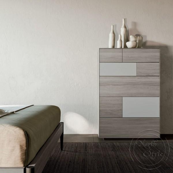 Висок шкаф за спалня, 6 бр. чекмеджета, KLEE