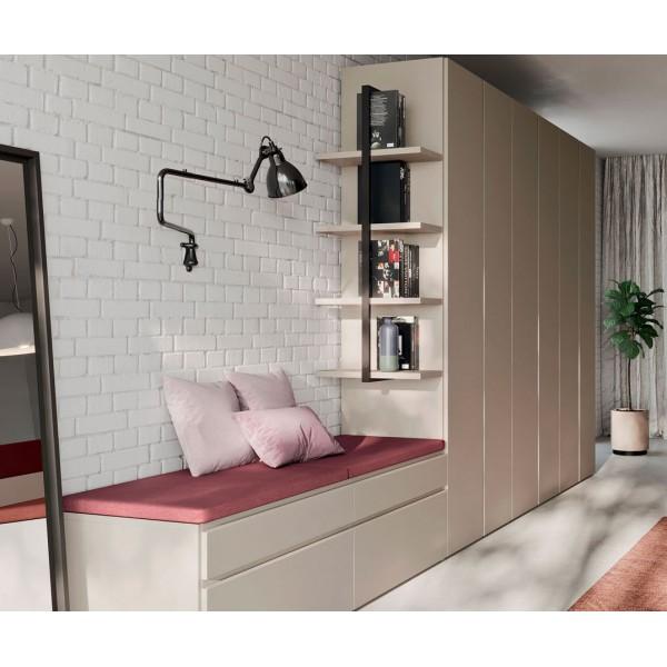 Модерен гардероб с етажерка и място за сядане, Filo