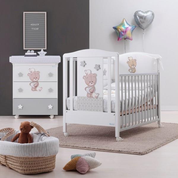 Модерна бебешка кошара, Love me с дървена декорция