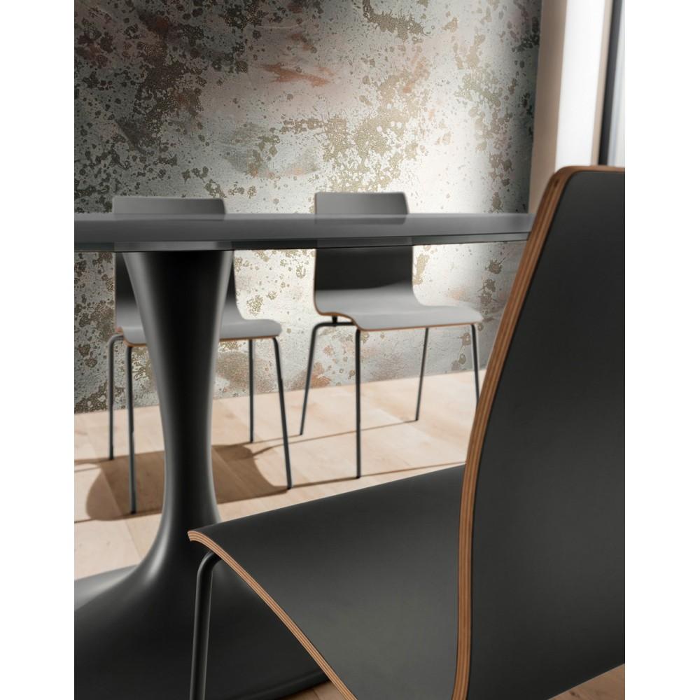 Фиксирана трапезна маса, Овален плот, Основа от черен техно мрамор, Стъклен плот / London gray