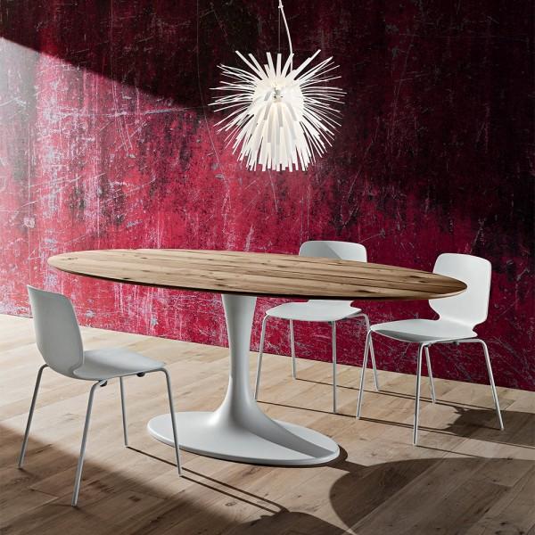 Модерна маса за трапезария, Основа / Бял синтетичен мрамор, Плот / Дървесен фурнир