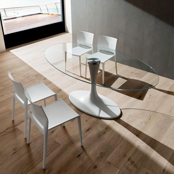 Маса за трапезария, Основа  от бял синтетичен мрамор, Стъклен прозрачен плот