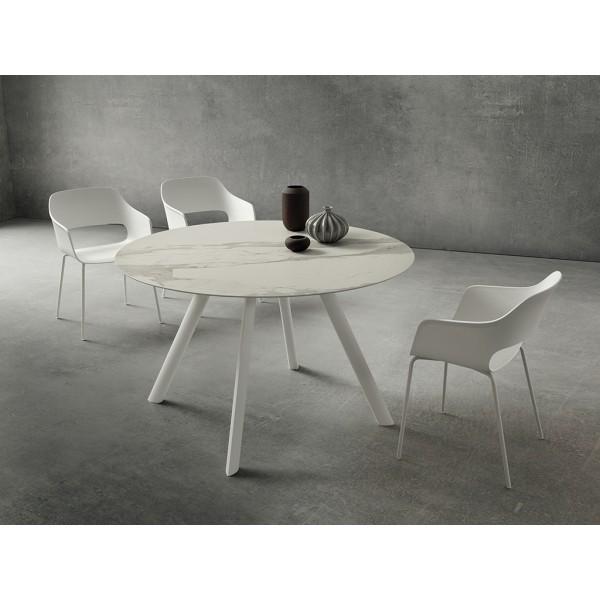 Модерна кръгла маса, Бели алуминиеви крака, Плот Laminam - NICOLA 130 см