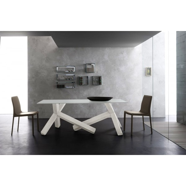 Модерна трапезна маса, Основа масив, Дъб - бял финиш, Плот стъкло - прозрачно, CROSS VETRO