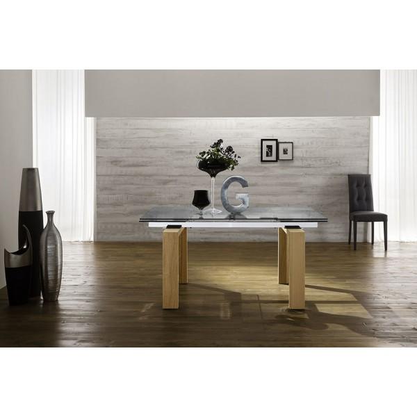 Разтегателна трапезна маса, Модерен дизайн, Стъклен плот - GLASS LEGNO