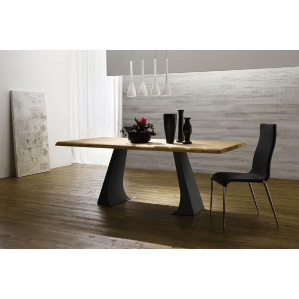 Трапезна маса с модерен дизайн, Плот масивна дървесина - JUMP LEGNO