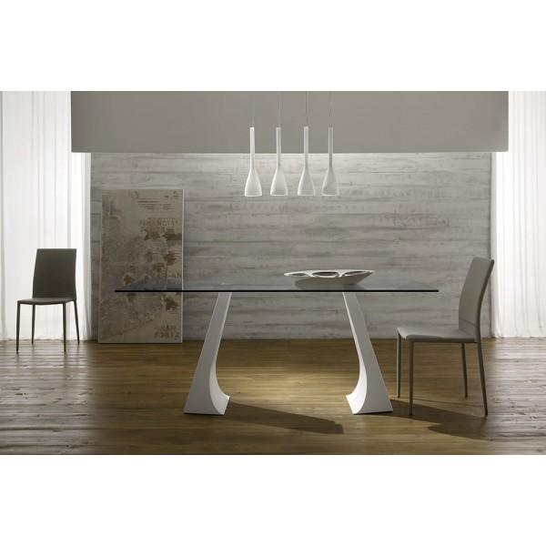 Модерна маса от Италия, Метални крака, Съклен плот - JUMP VETRO