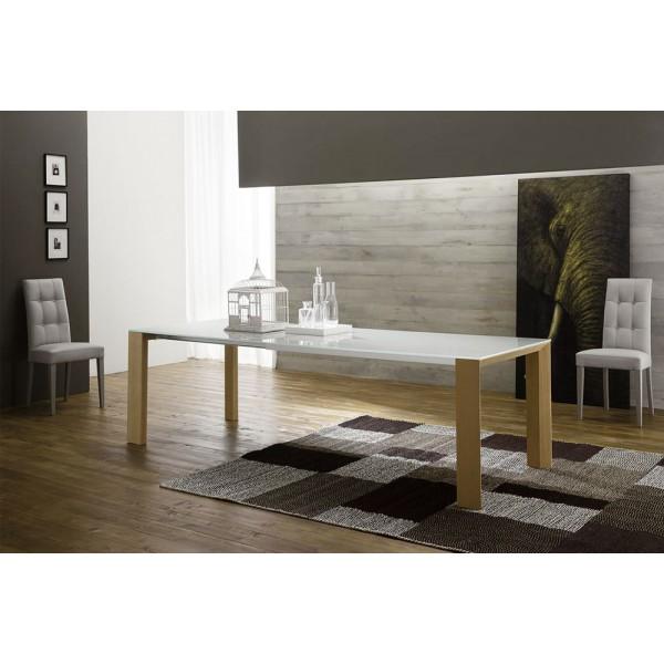 Модерна разтегателна маса за трапезария, Стъклен лакиран плот - MOVIE 160