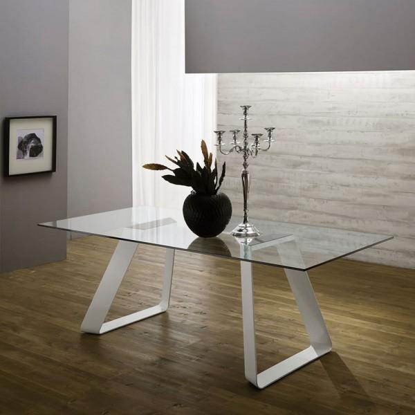 Модерна трапезна маса, Метални крака, Стъклен плот - Mr. BIG VETRO