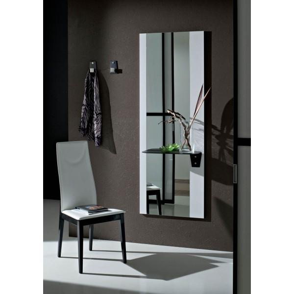 Огледало с бял стъклен панел и рафт от червена кожа LIA 502