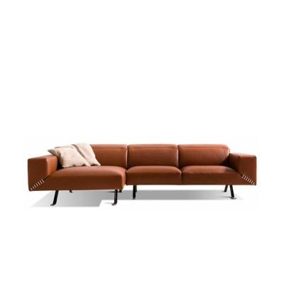 W| HENRY - Ъглов диван, Кафява естествена кожа