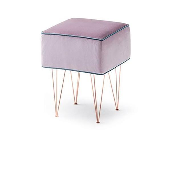 PILLS - Италианска табуретка с метални крана в цвят мед и лилав текстил за тапицерия Felis