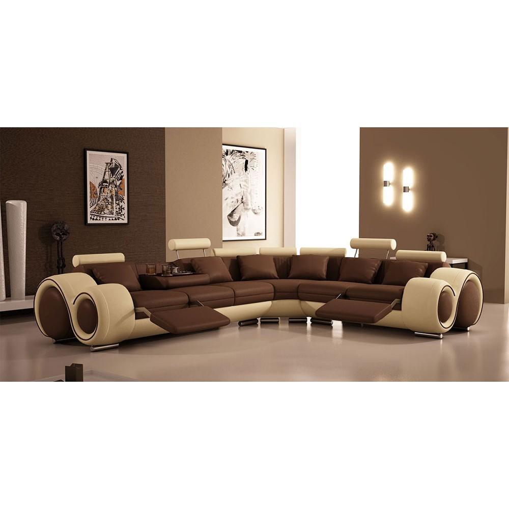 4087 - Модерен кожен диван