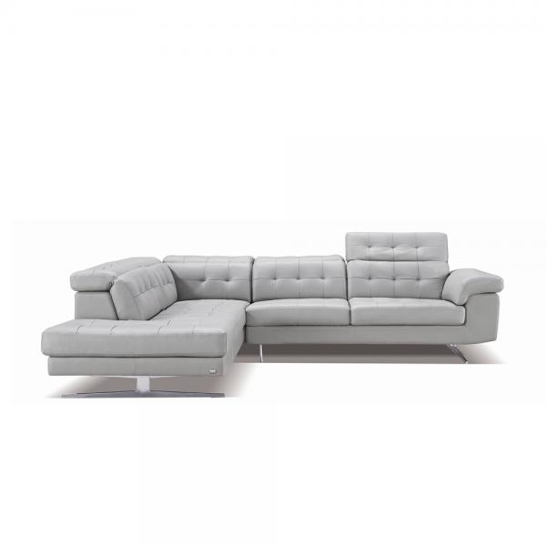 Модерен ъглов диван с тапицерия от сива естествена кожа, 992