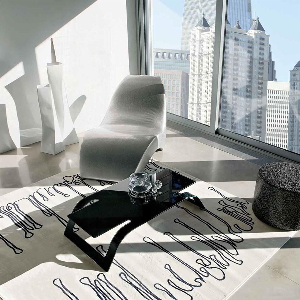 LOUNGE - Модерна черна маса за кафе от стъкло