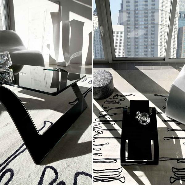TVL001 - Стъклена черна маса за кафе, LOUNGE от 'Unico Italia'