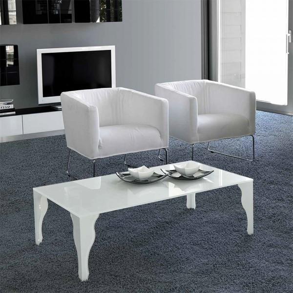 TVL032 - Бяла стъклена маса за кафе, EPOCA от 'Unico Italia'