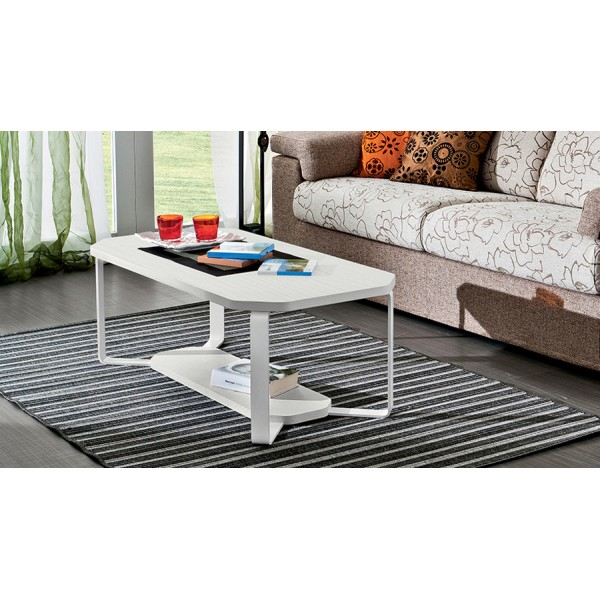 AURORA - Бяла правоъгълна маса за кафе с метални крака