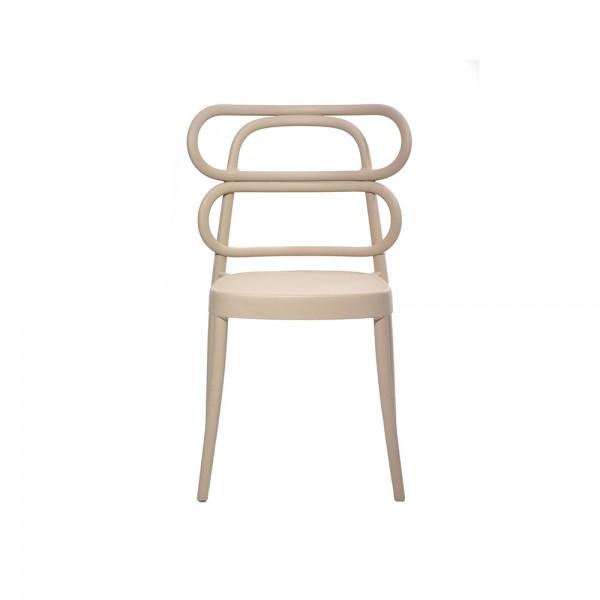 MIRA - Модерен италиански трапезен стол от полипропилен - бежово кафяв цвят