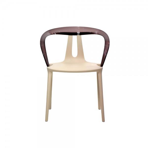 FLY - Дизайнерски трапезен стол с подлакътници - в бежово кафяв цвят