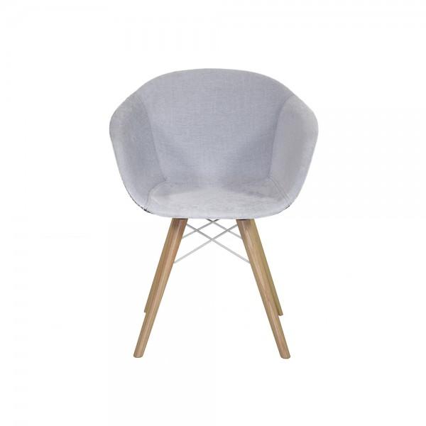 SMACK - Модерен трапезен стол с дървена основа и текстилна седалка