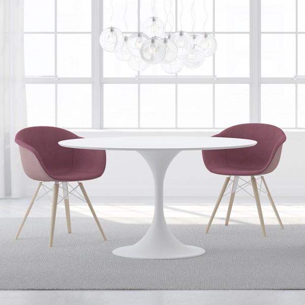 SMACK - Модерен трапезен стол с вишнева текстила тапицерия