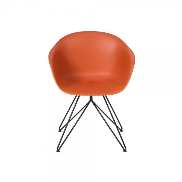 SMACK - Модерен стол за трапезария с метална основа - керемидено кафяв цвят