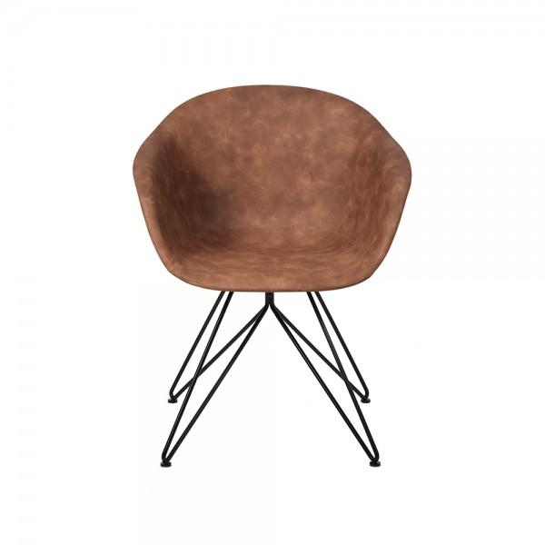 SMACK - Модерен стол за трапезария  с кожена тапицерия - светло кафяв цвят
