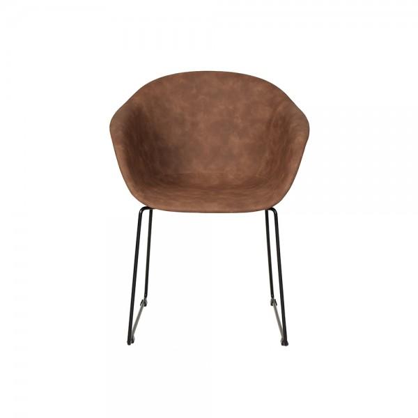 SMACK - Италиански стол за трапезария в модерен стил - светло кафява кожа