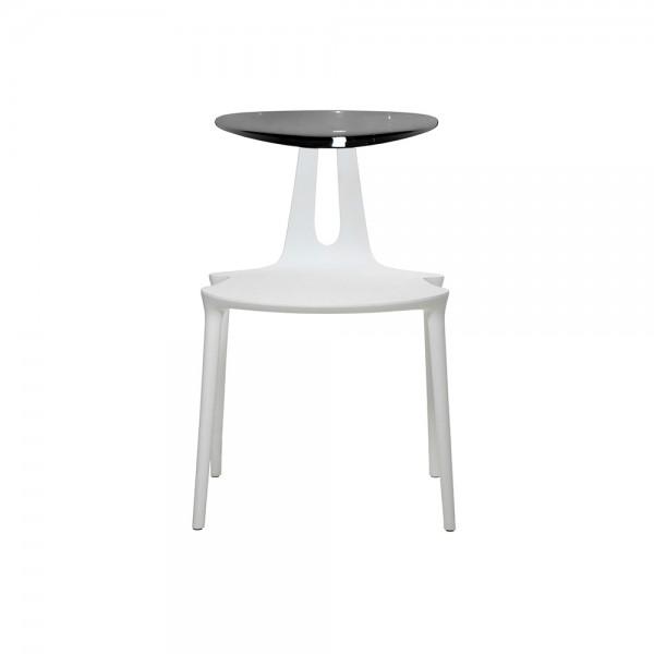 FLY - Дизайнерски трапезен стол с поликарбонатна облегалка  - в цвят  'White'