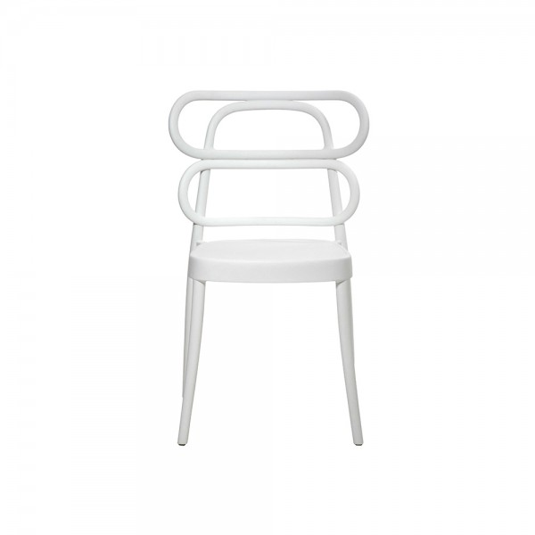 MIRA - Модерен италиански трапезен стол от полипропилен  - бял цвят